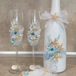 Ритуален комплект с морски мотиви в синьо