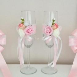 Комплект ритуални чаши с украса в розово