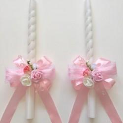 Комплект ритуални свещи с украса в розово