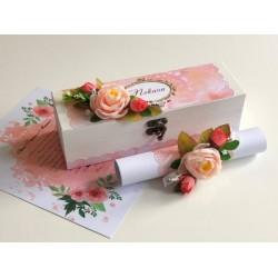 Луксозна покана за кумове, шафери и родители в дървена кутия