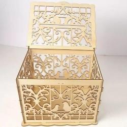 Дървена, лазерно рязана кутия за парични подаръци, птички