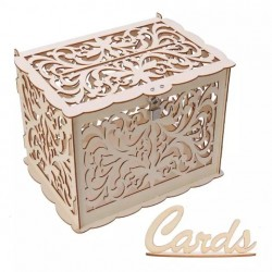 Дървена, лазерно рязана кутия за парични подаръци и дарения