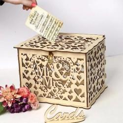 Дървена, лазерно рязана кутия за парични подаръци Mr&Mrs