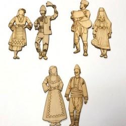 Дървени фигурки народни носии, танцьори