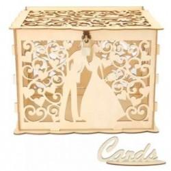 Дървена, лазерно рязана кутия за парични подаръци Младоженци