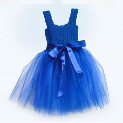 Детска синя рокля с панделка